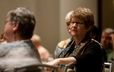 Michelle Holmes, stated clerk of Santa Barbara Presbytery, listens during the Breakfast for Middle East Peace.