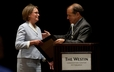 The Rev. Laura S. Mendenhall receives the E.T. Thompson Award from Presbyterian Outlook editor, the Rev. Jack Haberer.