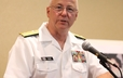 Rear Admiral Mark Tidd speaks on behalf of the Presyterian Council for Chaplains and Military Personnel at GA 220.