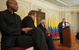 President of Colombia, Juan Manuel Santos addresses faith leaders before the historic vote on the peace accord between the government and the FARC.