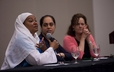 Basimah R. Abdullah answers questions during the panel discussion of the Ecumenical and Interfaith Breakfast.