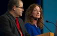 Raul Santiago-Rivera (left) and Susan Orr (right) speak at Wednesday afternoon's plenary session.