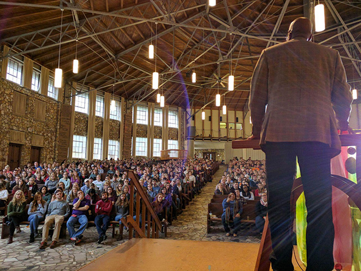 Rev. J Herbert Nelson speaking at 2017 Montreat College Conference
