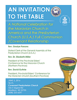flier for pcusa moravian communion agreement celebration