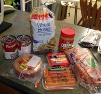 a collection of foods selected for the food stamp challenge